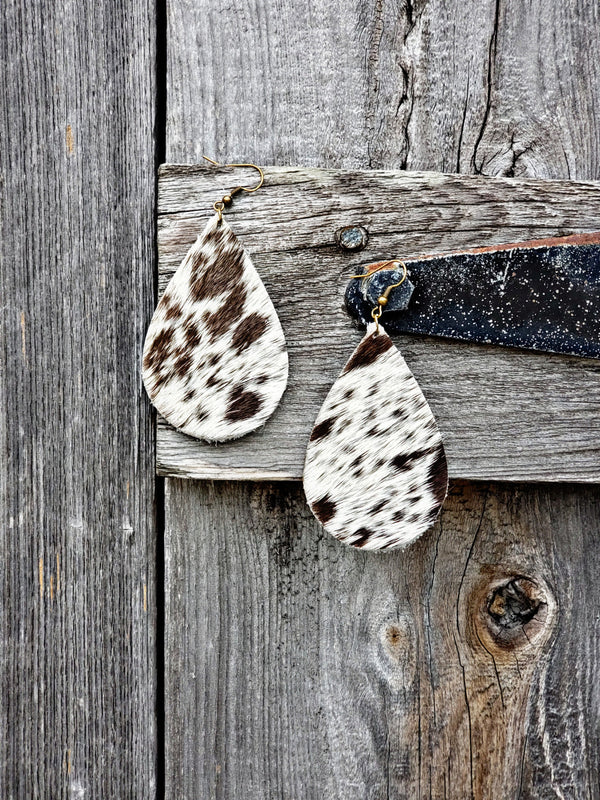 Speckled Longhorn Teardrop Earrings