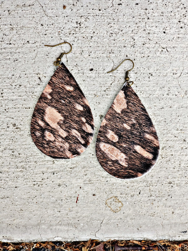 Acid Wash Rose Gold Hair On Hide Earrings
