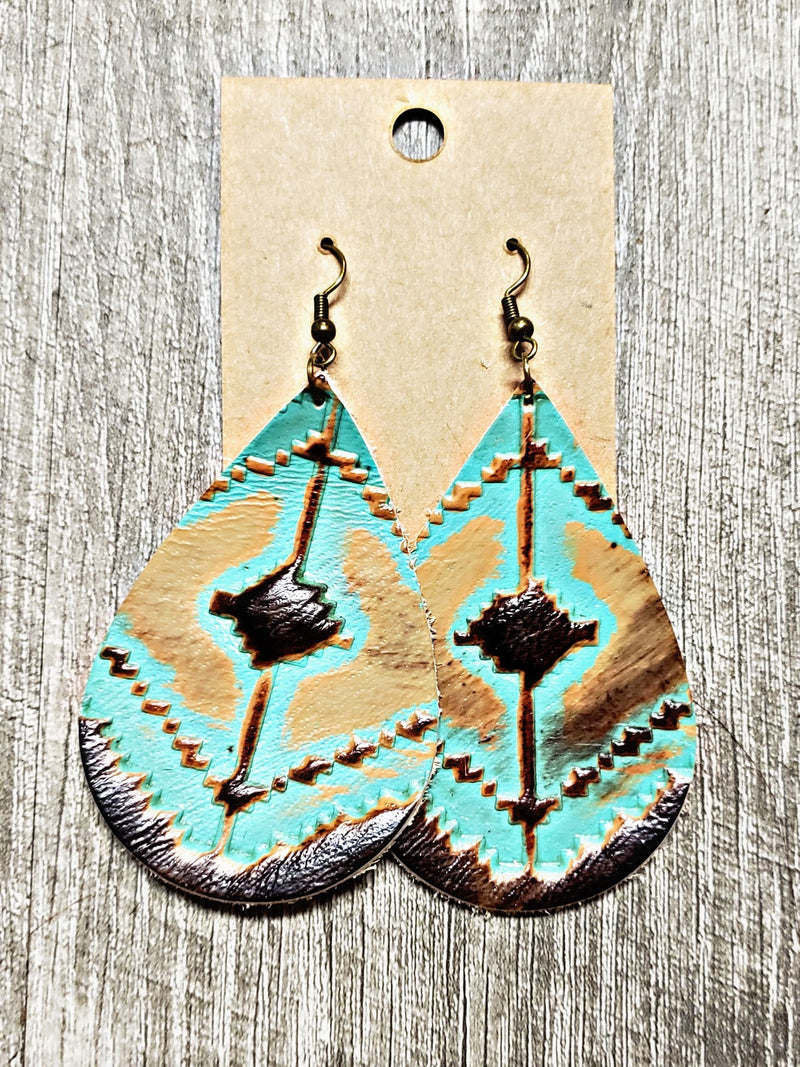Turquoise Navajo Teardrop Earrings
