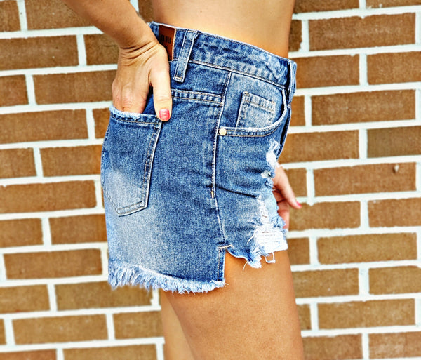 Dolly Distressed Denim Shorts