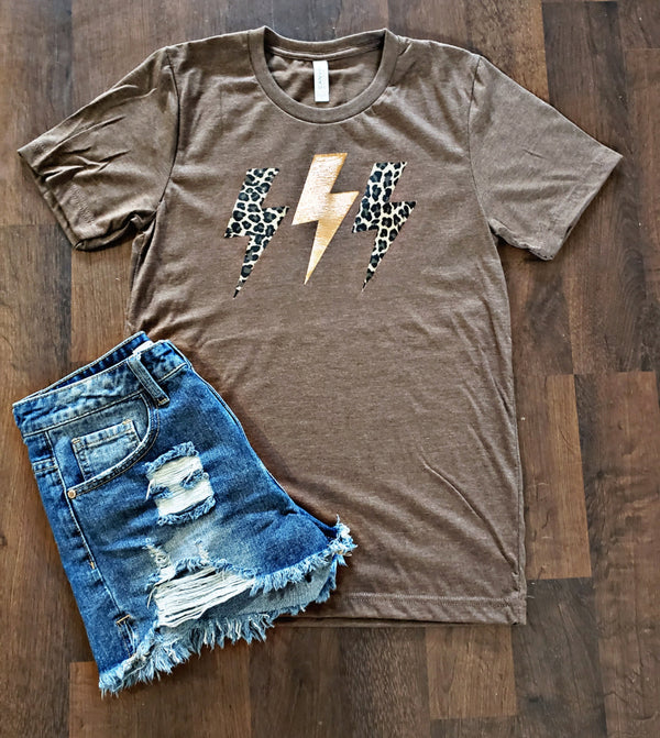 Rose Gold Leopard Bolt Tee
