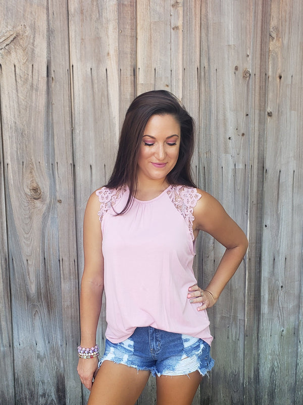 Lavender Lace Sleeve Top