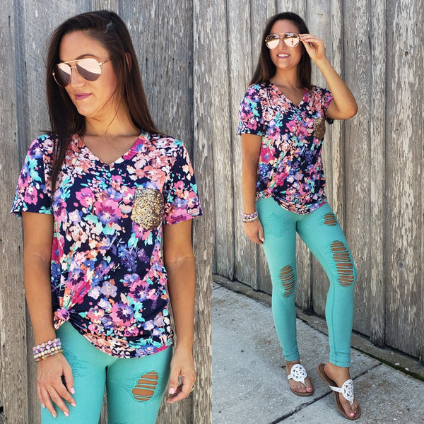 Summer Days Sequin Pocket Top