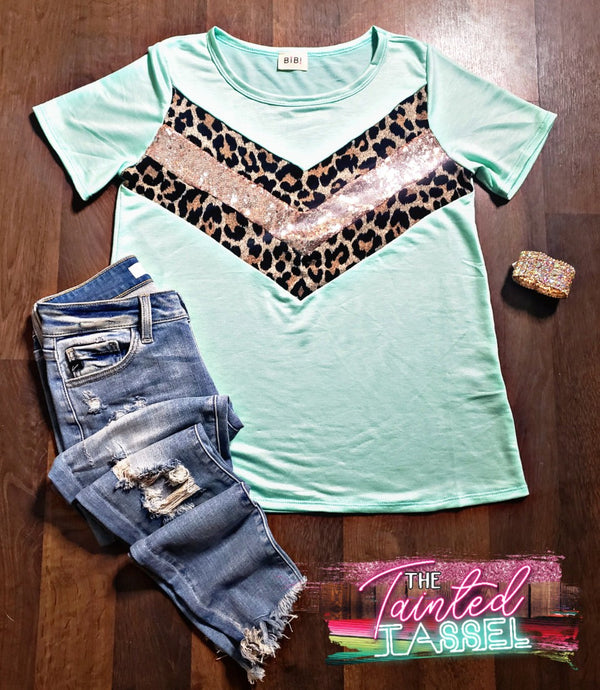 Mint Leopard Sequin V Top