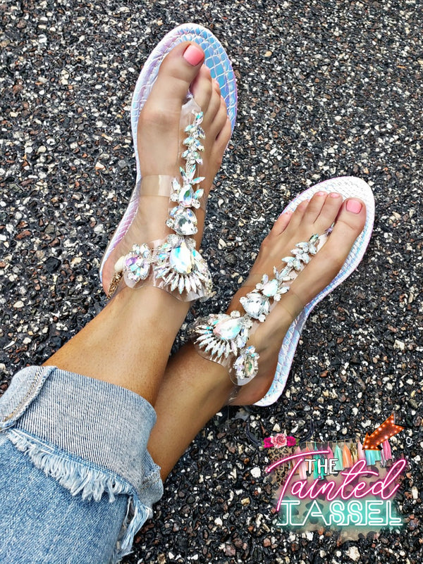Jeweled Halogram Sandals