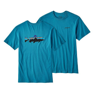 Patagonia Men's Fitz Roy Trout Organic Cotton T-Shirt  Filter Blue