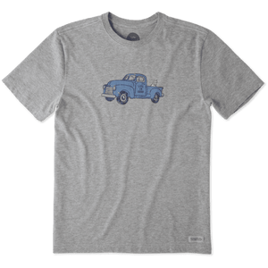 Life Is Good Men's Classic Truck Crusher Tee - Heather Gray