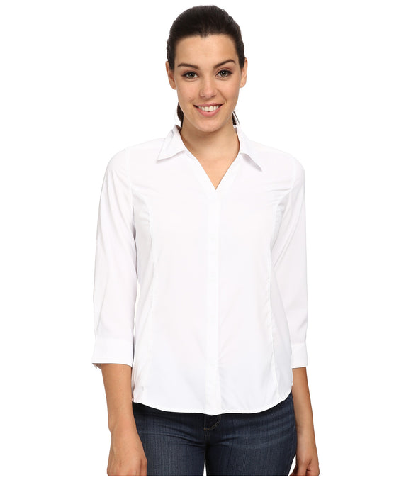Royal Robbins Women's Expedition Stretch 3/4 Sleeve White