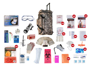 4 Person Elite Survival Kit (72+ Hours) Large Camo Wheel Bag