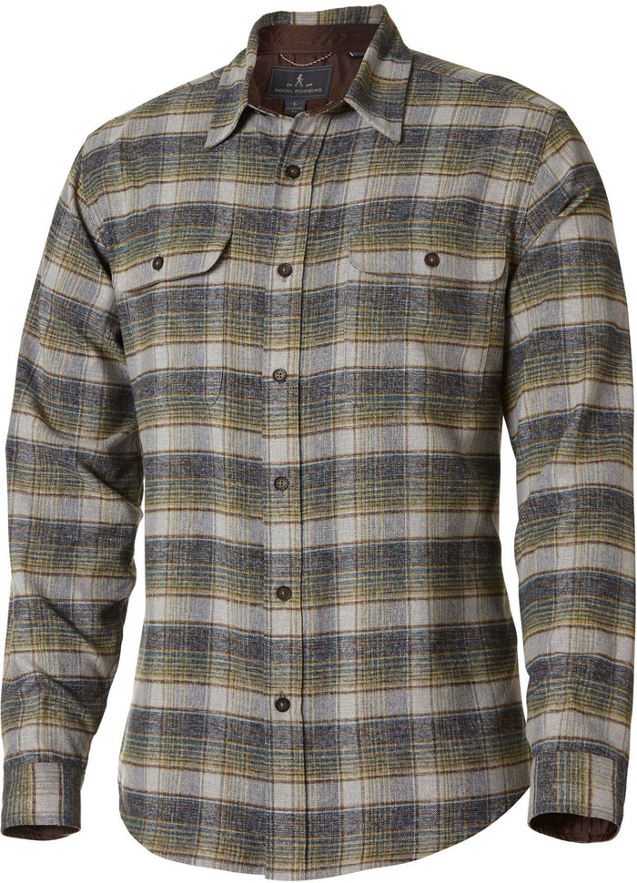 ON SALE - CLEARNACE Royal Robbins Men's Performance Flannel Overshirt LS Blue Stone