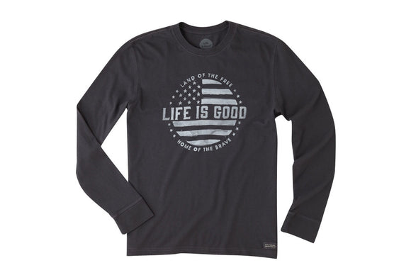 Life is Good Men's Crusher L/S Land Of The Free Night Black