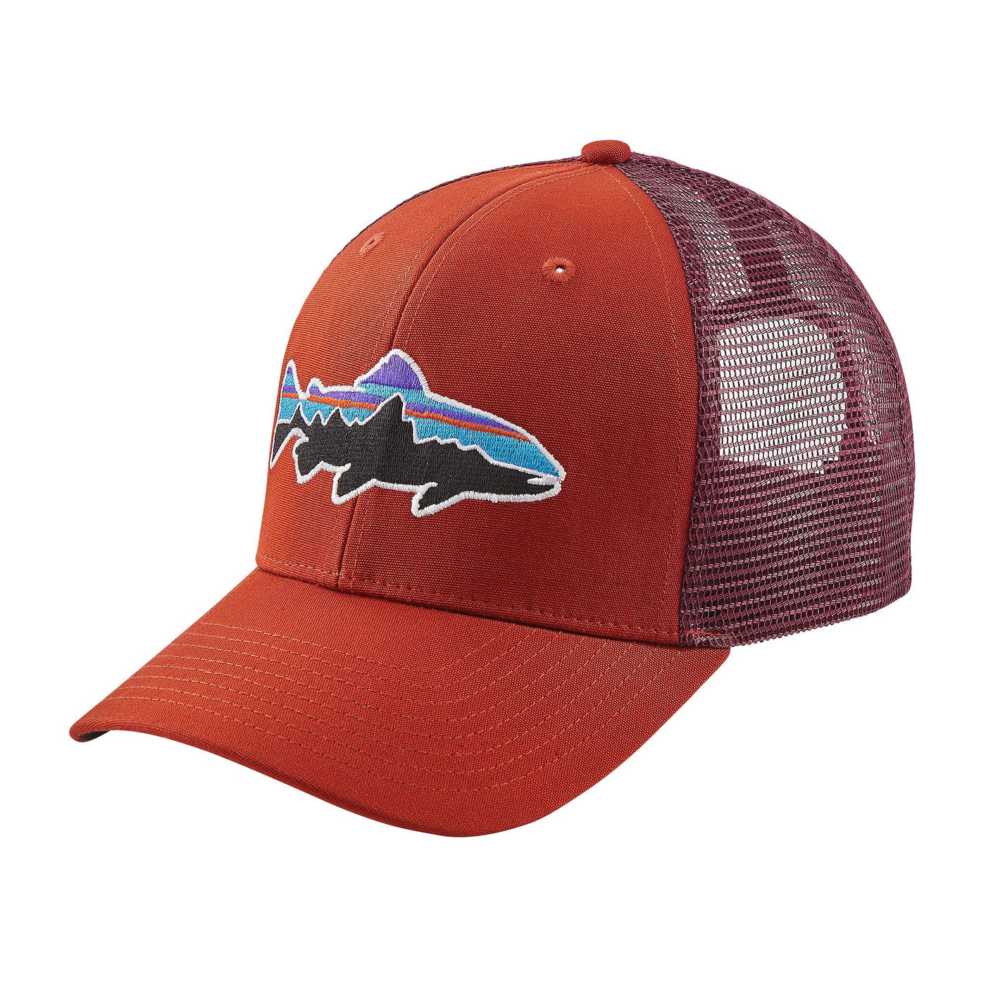 39b408999fda7 Patagonia Fitz Roy Trout Trucker Hat Roots Red – Trailside Outfitter
