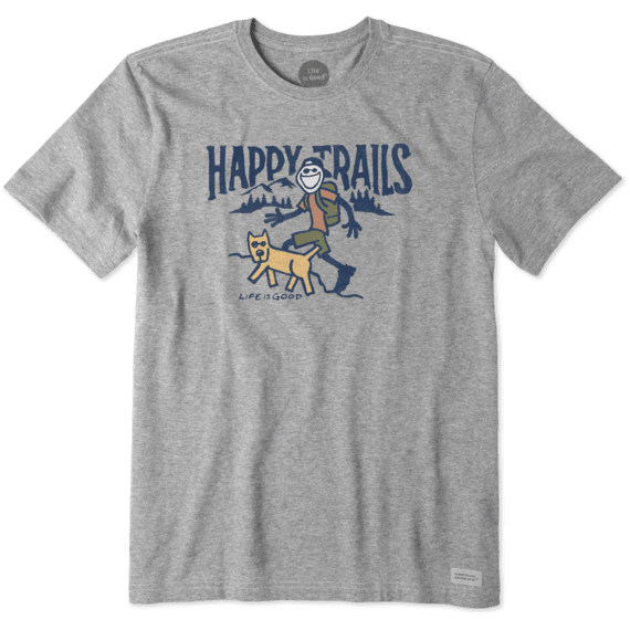 Life Is Good Men's Happy Trails Crusher Tee - Heather Gray