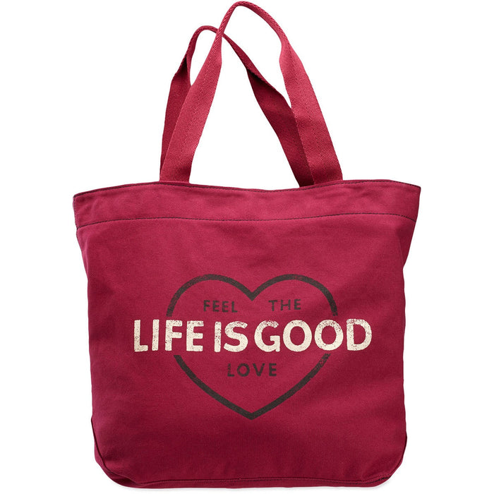 Women's Life is Good Marquee Tote Feel The Love Wild Cherry