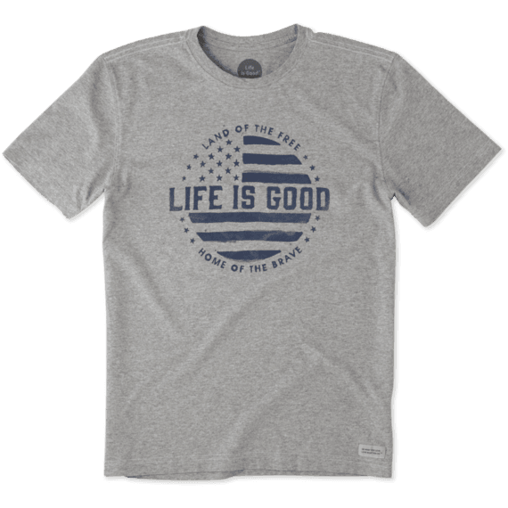 Men's Life is Good Crusher Land Of The Free Heather Grey