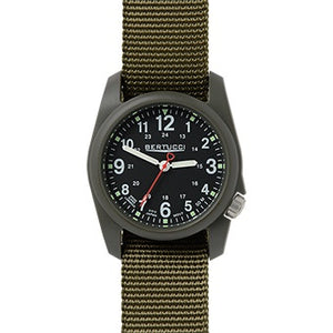 Bertucci DX3 Men's Field Watch - Black Dial/Olive Band - Trailside Outfitter