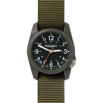 Bertucci DX3 Men's Field Watch - Black Dial/Olive Band