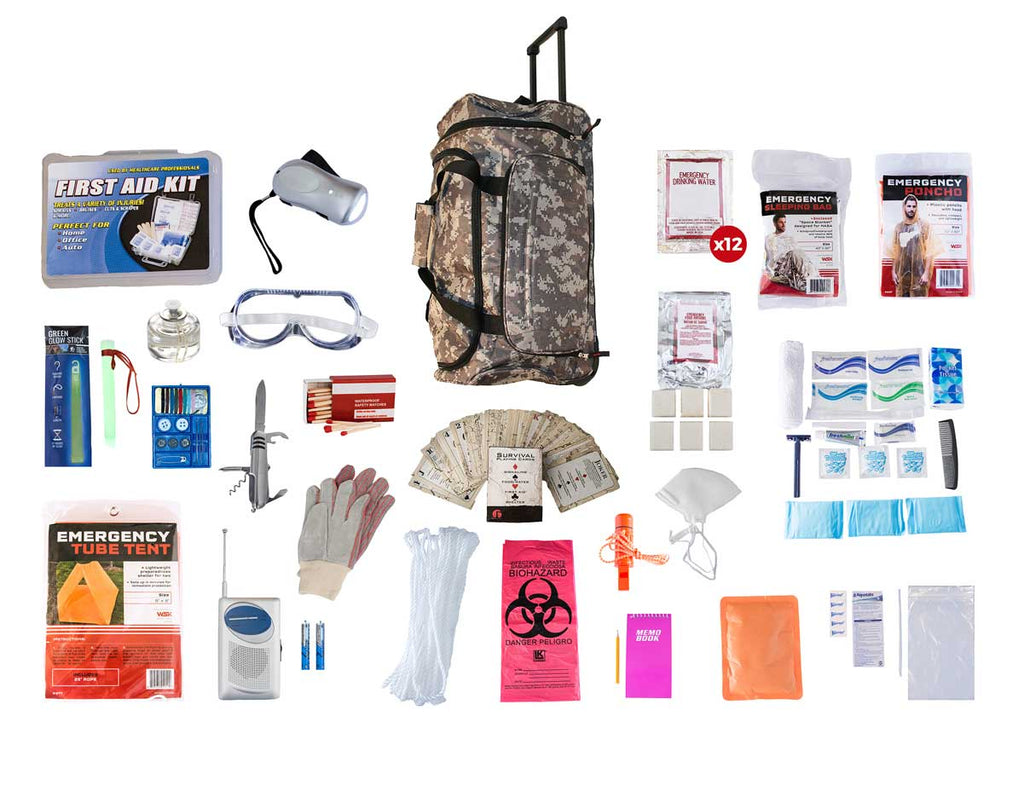 1 Person Elite Survival Kit (72+ Hours) Large Camo Wheel Bag