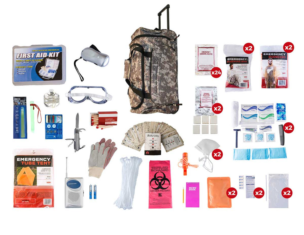 2 Person Elite Survival Kit (72+ Hours) CAMO  Wheel Bag