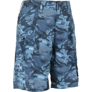 AFTCO Men's Tactical Fishing Shorts Blue Camo - Trailside Outfitter
