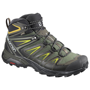 Salomon Men's X Ultra 3 Mid GTX Hiking Boot - Castor Gray/Black/Green Sulphur