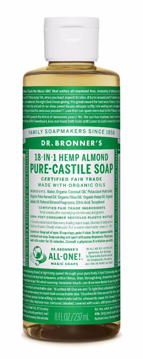 Dr. Bronner's Almond Pure-Castile Liquid Soap - 8 oz. - Trailside Outfitter