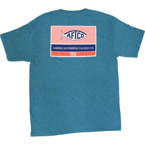 AFTCO Men's Standard SS T Shirt Cyan Heather - Trailside Outfitter