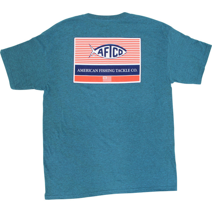 AFTCO Men's Standard SS T Shirt Cyan Heather