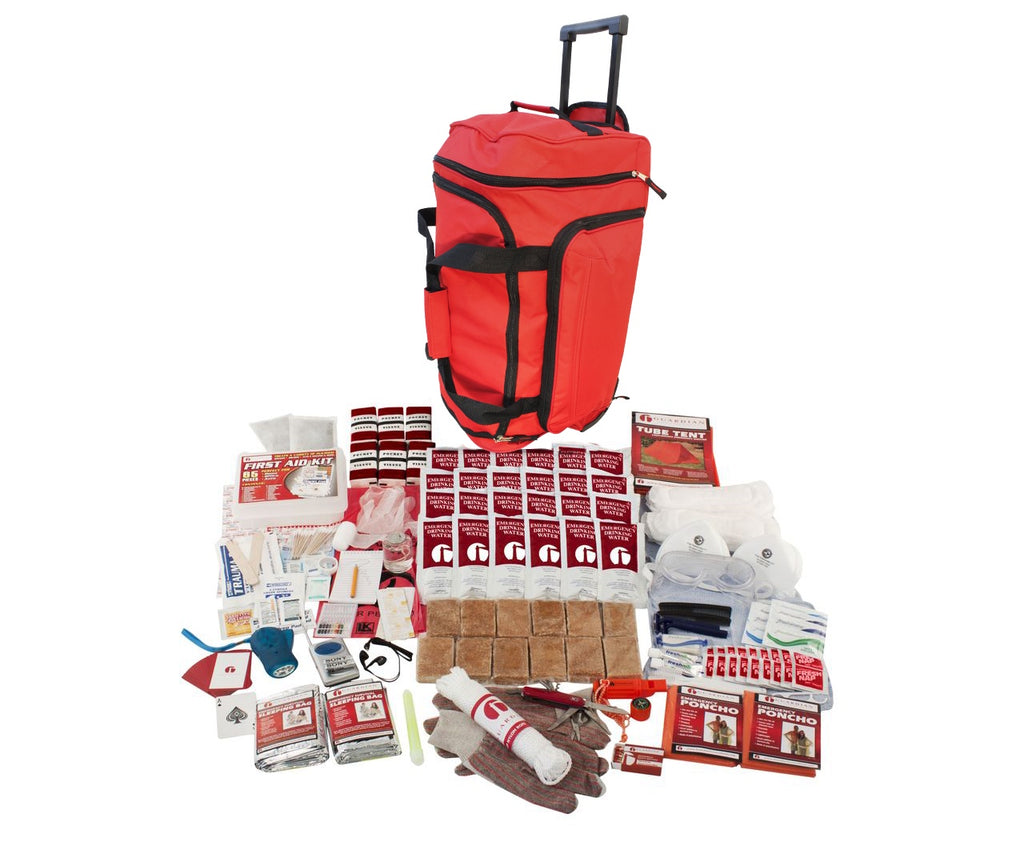 2 Person Elite Survival Kit (72+ Hours) Red Wheeled Bag