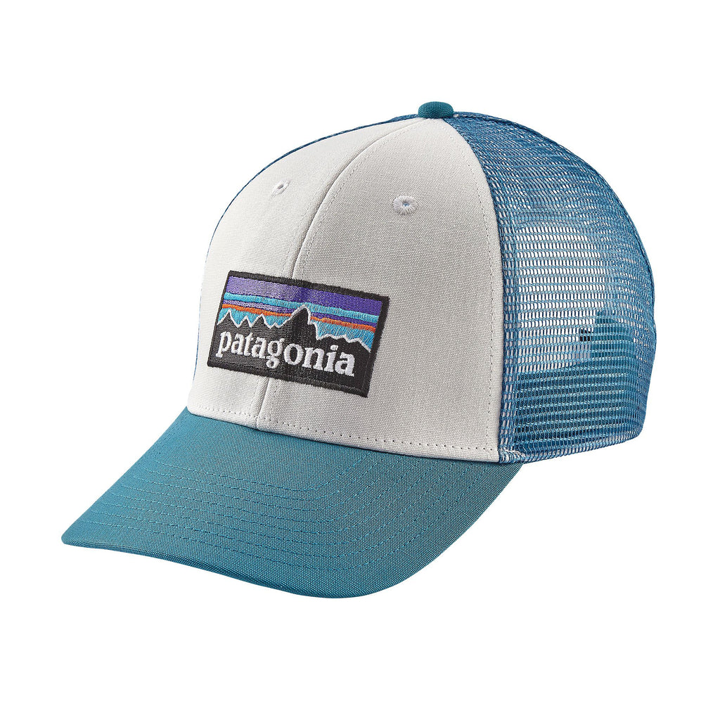 Patagonia P-6 Logo LoPro Trucker Hat White w/Filter Blue