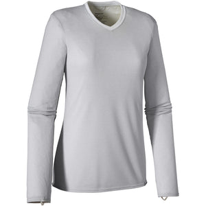 Patagonia Women's Capilene V-Neck Baselayer Long Sleeve/Light Grey