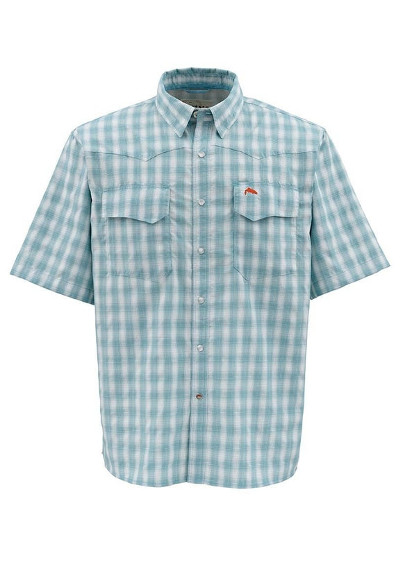 ON SALE - CLEARANCE Simms Men's Big Sky SS Shirt - Teal Plaid