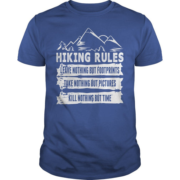 HIKING RULES LEAVE NOTHING TAKE NOTHING KILL NOTHING TSHIRT