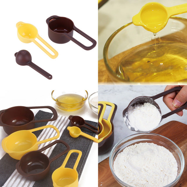 6Pcs/set Plastic Measuring Spoons Kitchen Tools Measuring Set For Baking Coffee Tea Spice Seasoning Accessories