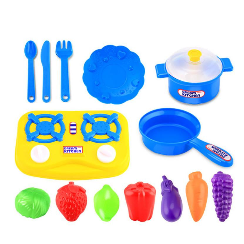 15pcs Plastic Kids Children Kitchen Utensils Food Fruit vegetables Cooking Pretend Play Set Toy Kitchen toys for children