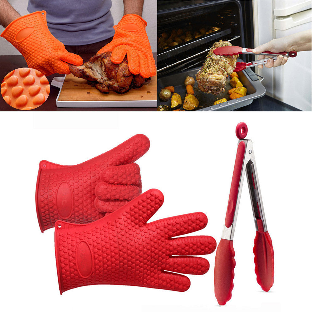 Kitchen Tool Silicone Kitchen Cooking Silicone BBQ /Cooking Gloves Plus Silicone Tong Baking Tool