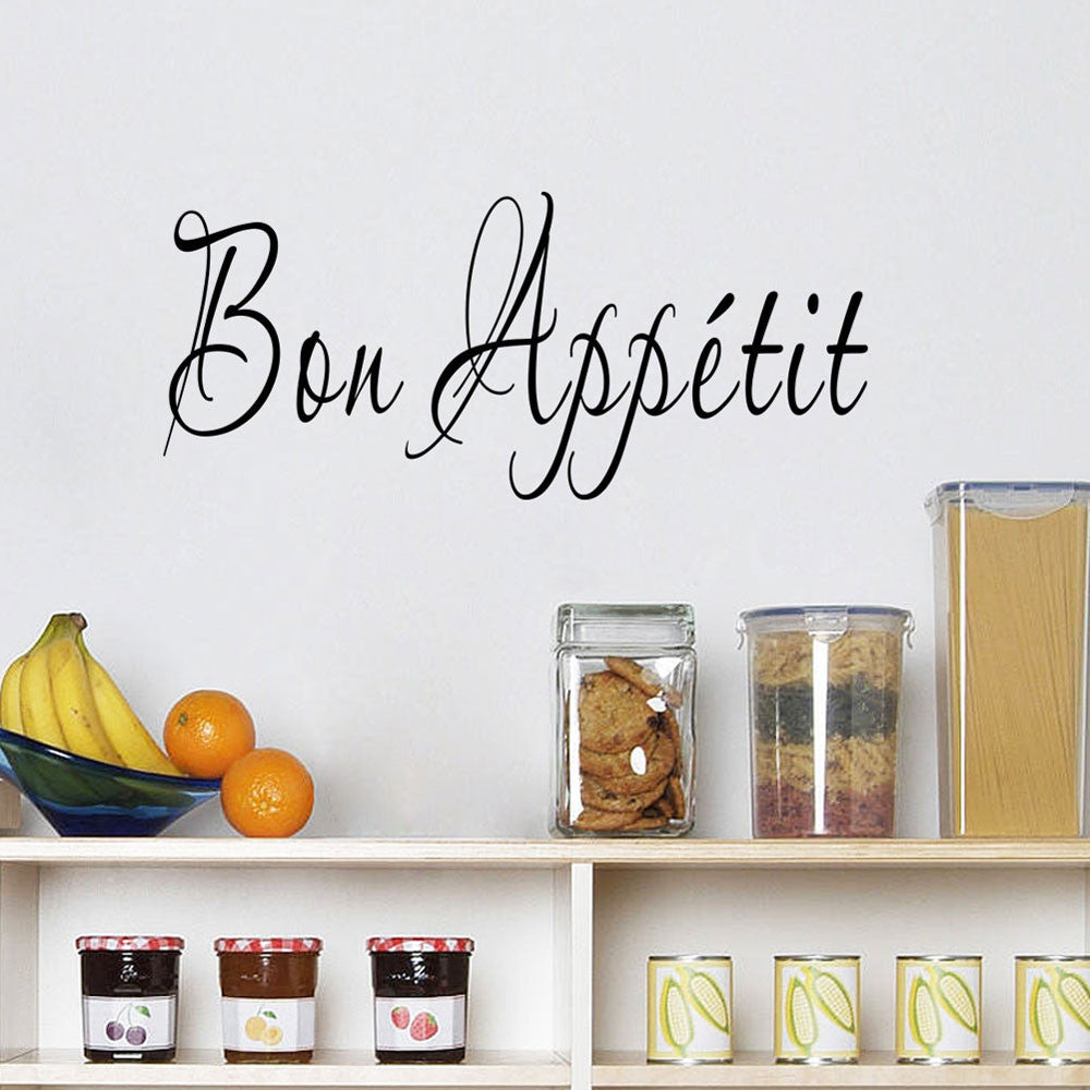 kitchen wall stickers Vinyl Quote Bon Appetit Dinning Room Decor Kitchen Decals Art