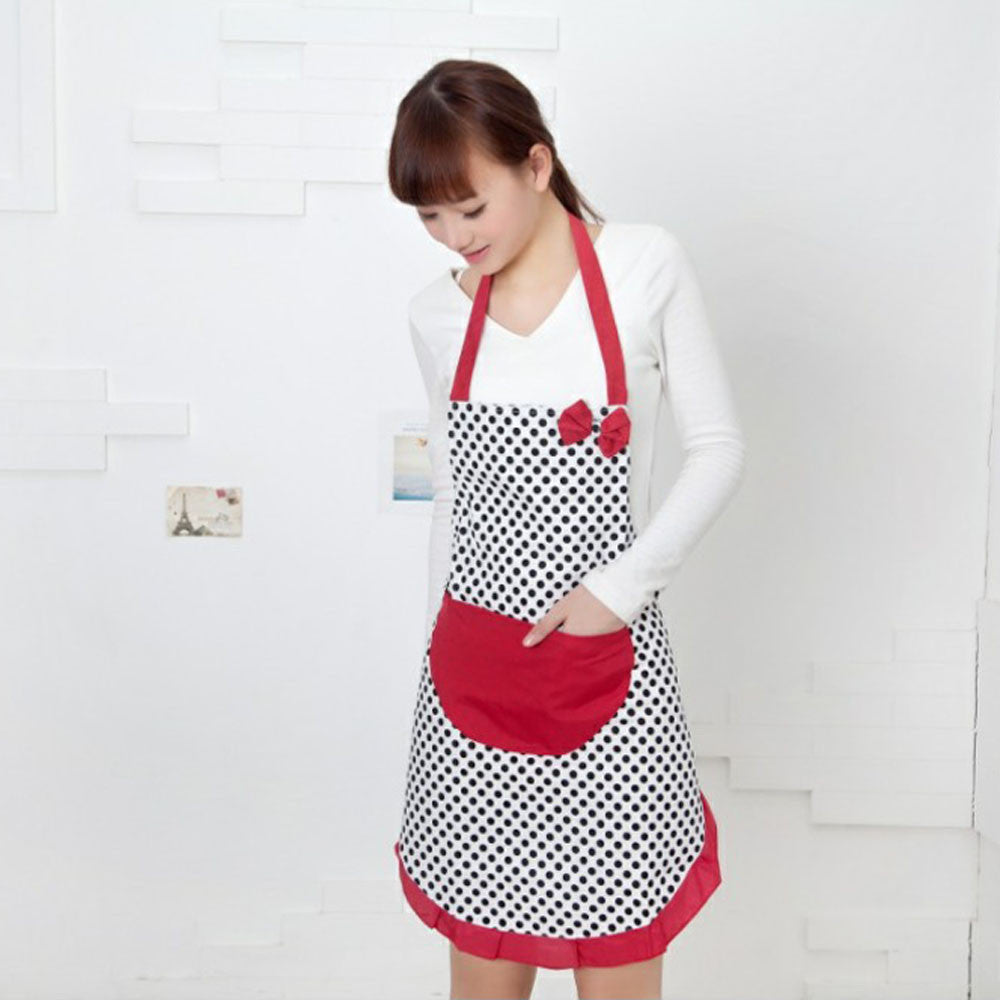 Super Deal Hot Selling Cute BowKnot Women Kitchen Restaurant Bib Cooking Aprons With Pocket  &282