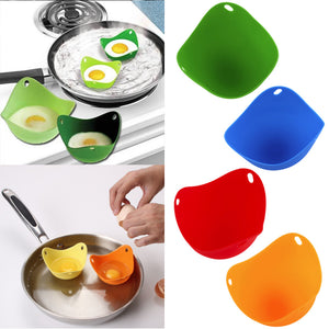 New 2Pcs Silicone Nontoxic Egg Poacher Tray Fried Cooker Boiler Kitchen Creative cuisine cooking tools Kitchen Gadgets utensil