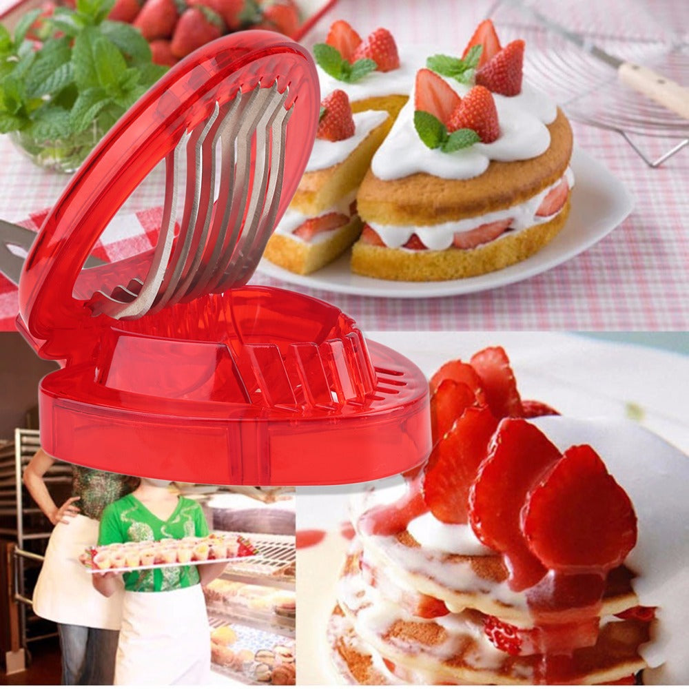 1PCS Durable strawberry slicer Kitchens cooking gadgets accessories supplies fruit carving tools salad cutter