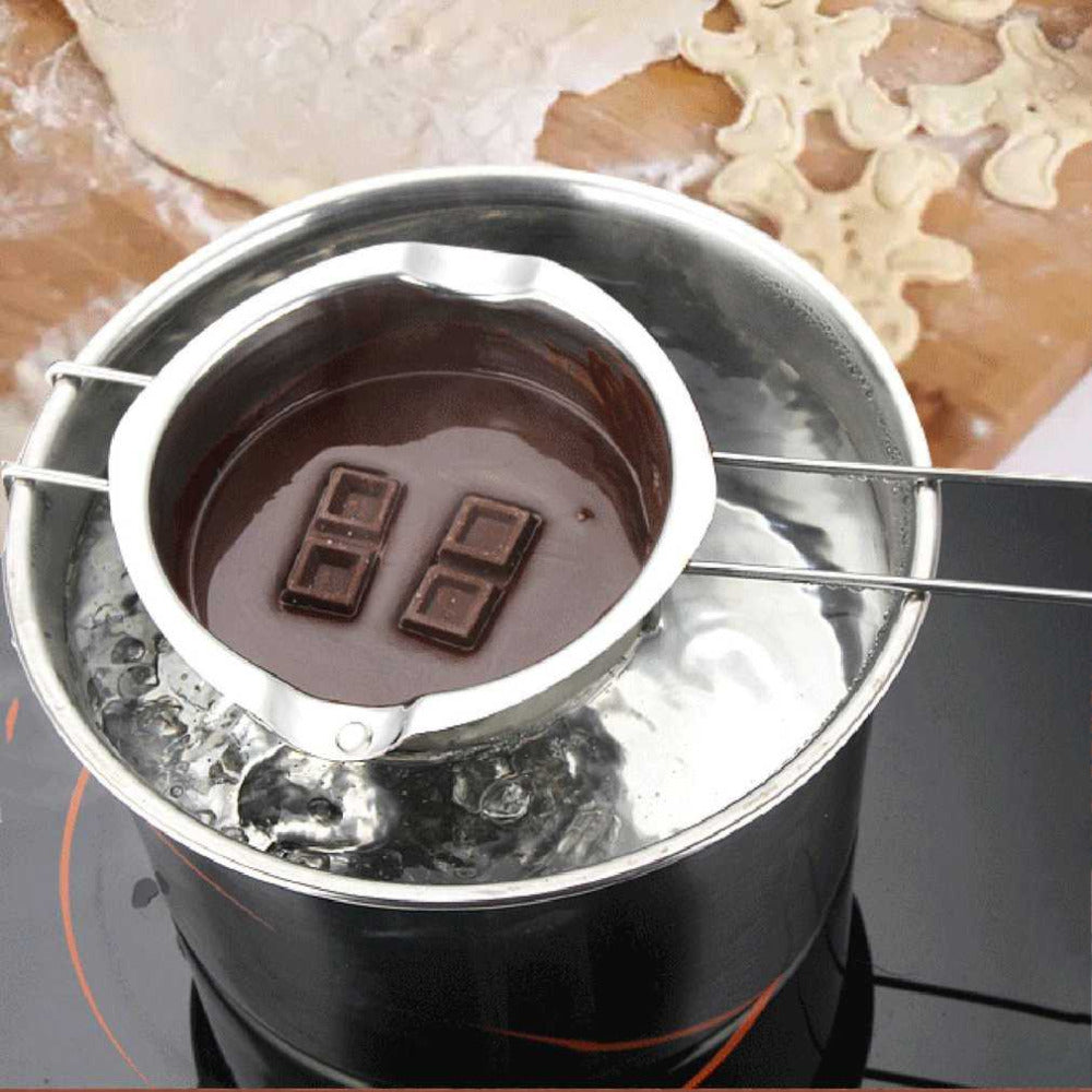Stainless Steel Chocolate Butter Milt Melt Ting Bowl Long Grip Handle DIY Pastry Cooking Dessert Baking Pastry Kitchen Tools