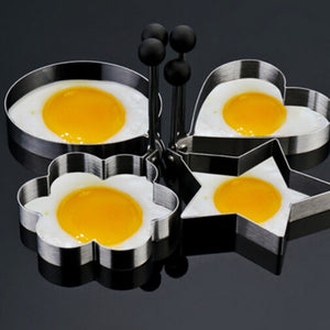 2Pcs New Lovely 2pcs Egg Mold Stainless Steel Heart Shape Star Shape Omelette Mould Biscuit Frying Egg Rings Mold Cooking Tools