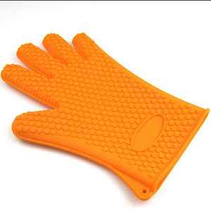 Heat Resistant Silicone Oven Glove Thick Cooking BBQ Grill Glove Oven Mitt Baking Glove Kitchen Barbecue Glove
