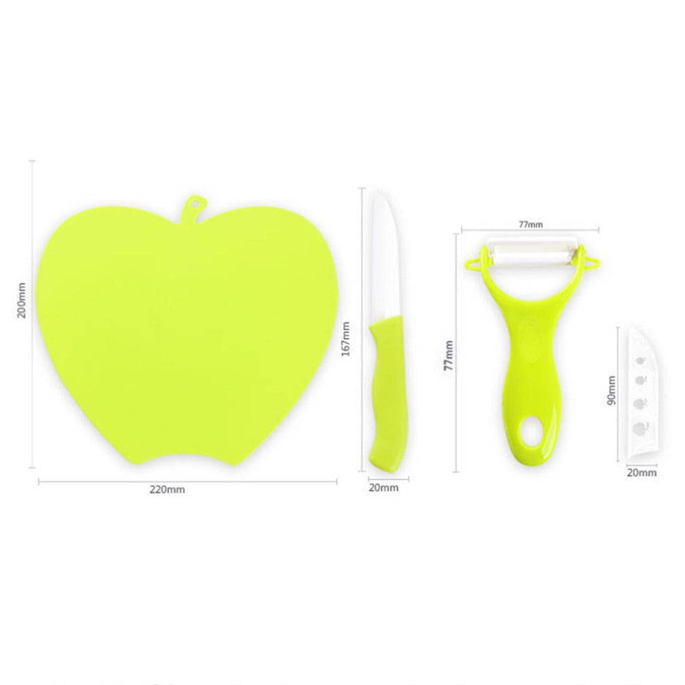 Household Kitchen Knife Set Board+Knife+Peeler 3 Pcs Kitchen Cutting Tools Home Use Fruit Cutter 3 in 1 Set For Cooking Use