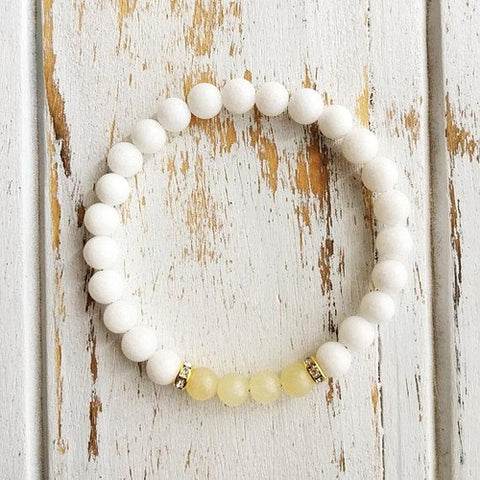 Mind & Power Bracelet - Yellow Calcite & White Agate - Lion Heart Living