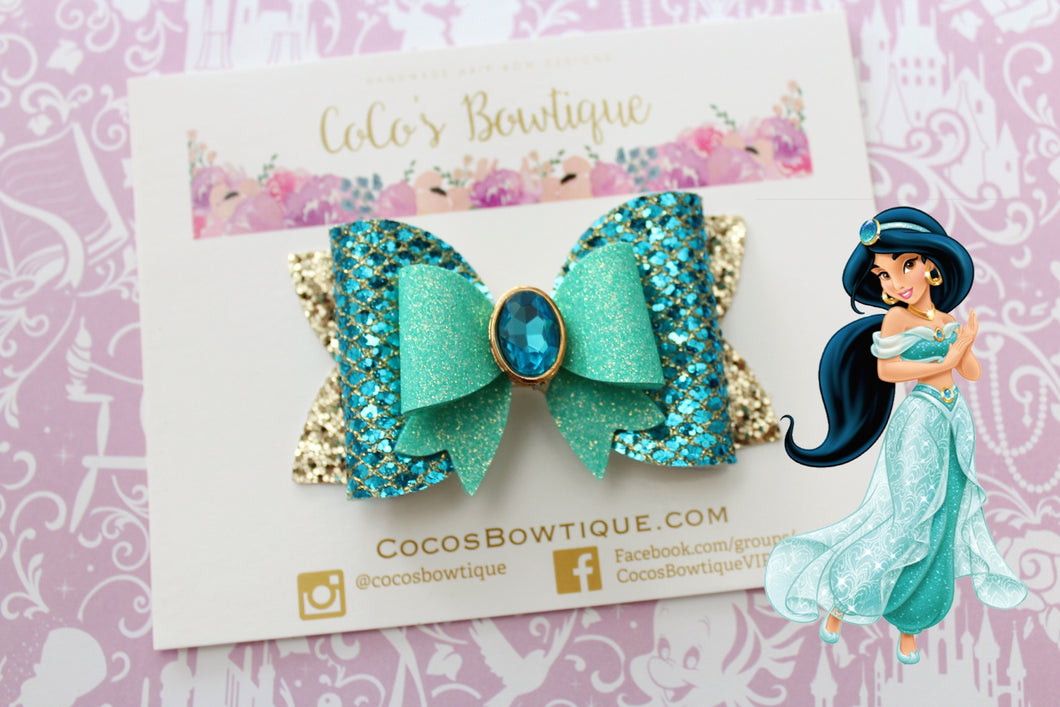 Jasmine- Princess-Inspired Faux Leather/Glitter Hair Bow w/ Embellishment- Disney Bows