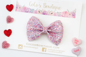 Ur Sweet- Chunky Glitter Bow- Valentine's Day Bows- Various Sizes