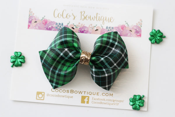 Irish Plaid- Faux leather Bella Bow- 2 sizes