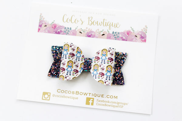 Alice in Wonderland-Inspired Faux Leather/Glitter hair bow- Various Sizes