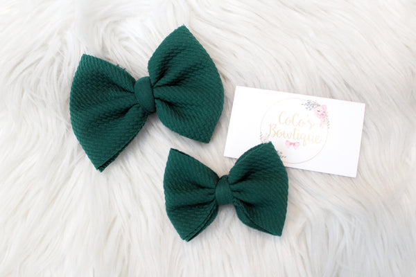 Evergreen- Stretchy Bullet fabric Bows- Choose Size
